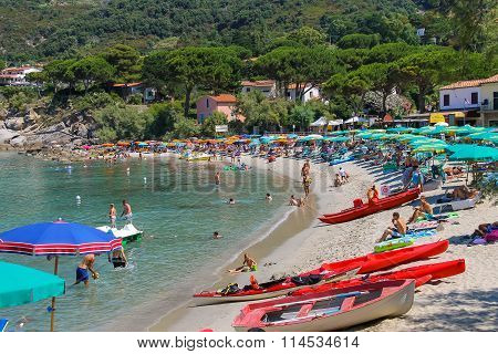 St Andreas Italy - July 01 2015: People on the coast of Tyrrhenian Sea Sant Andreas on Elba Island Italy