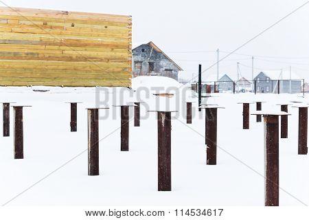 Building construction, steel frame reinforcements flooring layout
