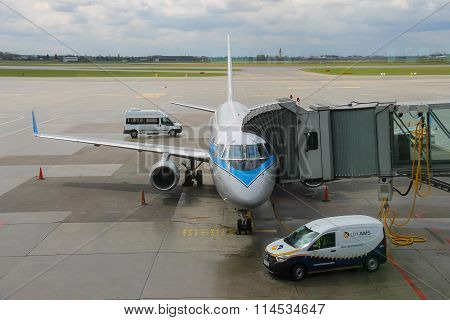 Preflight Service Of The Plane In Warsaw Chopin Airport, Poland