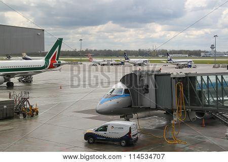 Preflight Service Of The Planes In Warsaw Chopin Airport, Poland