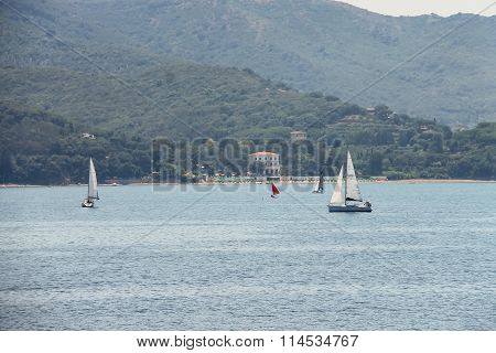 Sailing Yachts In Tyrrhenian Sea On Elba Island, Italy
