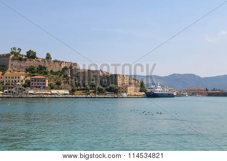 Passengers Cruise Ship In Portoferraio Harbour, View From The Sea. Elba Island, Tuscany, Italy
