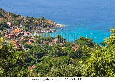 Coast Of Tyrrhenian Sea On Elba Island, Italy. View To Sant Andreas