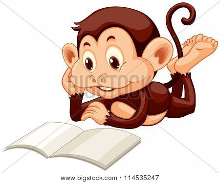 Little monkey reading a book illustration