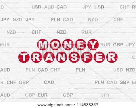 Currency concept: Money Transfer on wall background