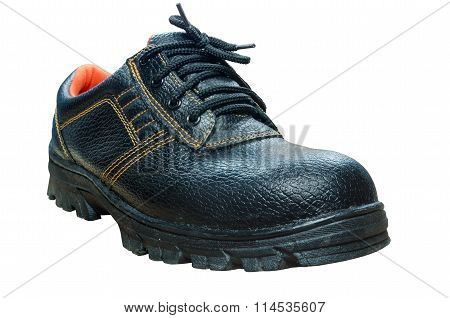 Black Steel Toe Safety Boots On White Background.