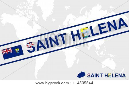 Saint Helena Map Flag And Text Illustration