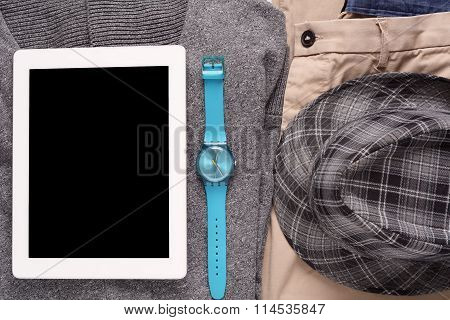 Urban Outfit Of Traveler, Student Or Young Man