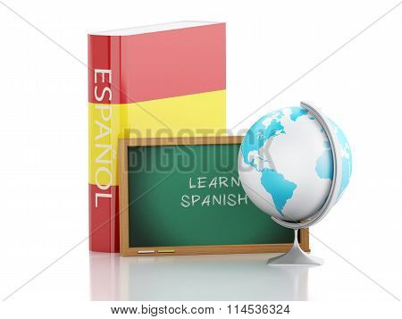 3D Learn Spanish. Education Concept.