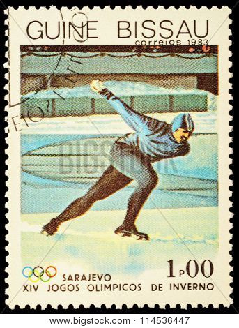Running Skater On Post Stamp