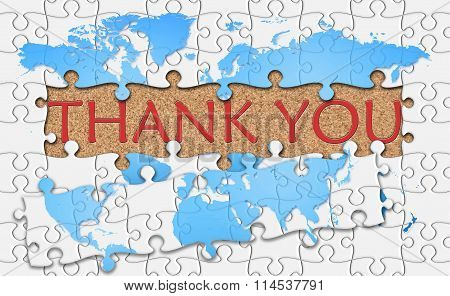 Jigsaw Puzzle Reveal  Word Thank You