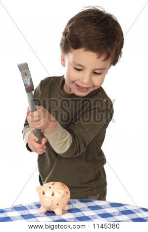 Adorable Boy Breaking The Money Box