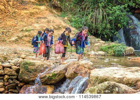 Children attend mountains
