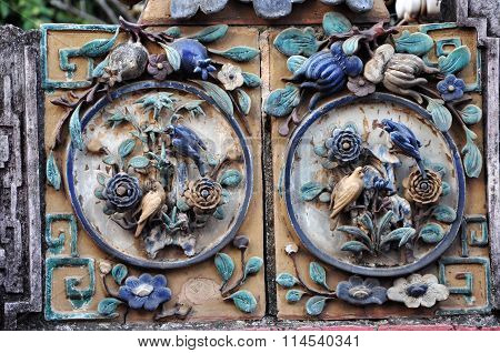 Architectural Ceramic Details On A Temple