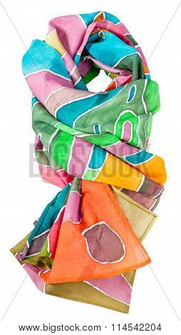 Knotted Batik Silk Scarf With Geometric Pattern