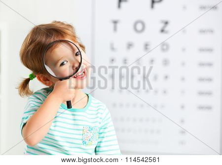 Concept Vision Testing. Child Girl With A Magnifying Glass