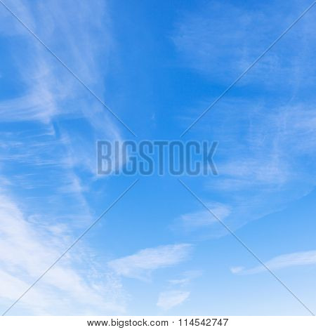 Cirrus Clouds In Blue Sky In Sunny Winter Day