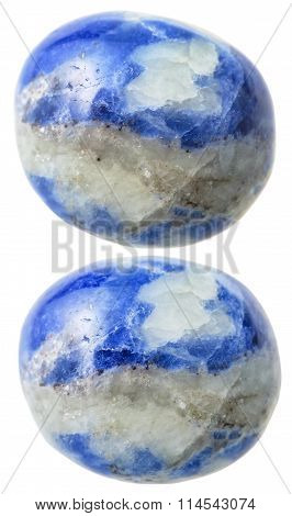 Two Sodalite Gemstones Isolated On White