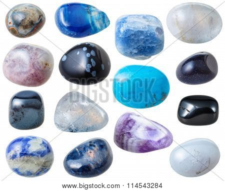 Set From 15 Pcs Blue And Black Gemstones Isolated