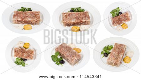 Set Of White Plates With Beef Aspic Isolated
