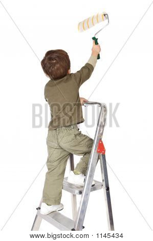 Adorable Boy Painting