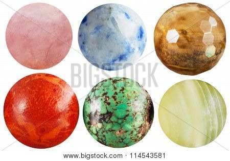 Set Of Round Beads Natural Mineral Gem Stones