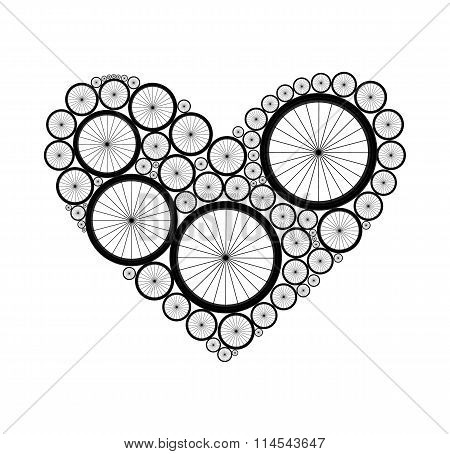 Vector heart made of bike wheels