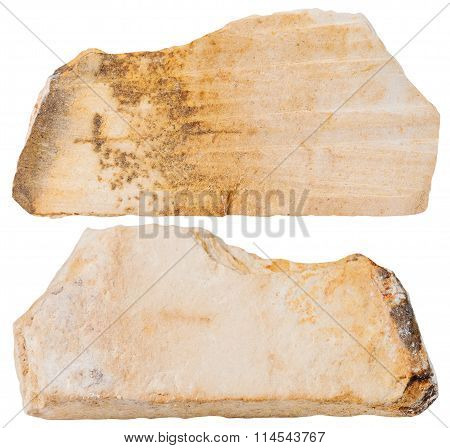 Two Pieces Of Shale Mineral Stone Isolated