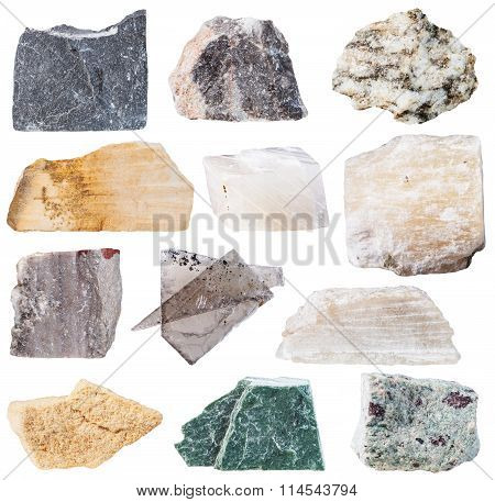 Set From 12 Specimens Of Natural Stones