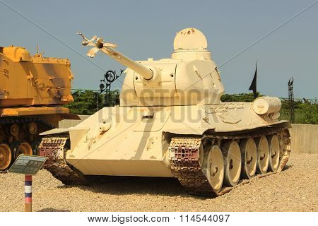 Latrun, Israel - April 02, 2010: T34-85 In The Yad La-shiryon