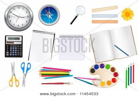 Sistema grande de suministros de oficina y negocios. Vector.