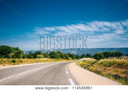 Beautiful empty asphalt freeway, motorway, highway in Provence,