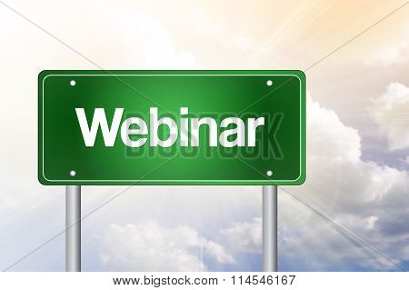 Webinar Green Road Sign, Business Concept..