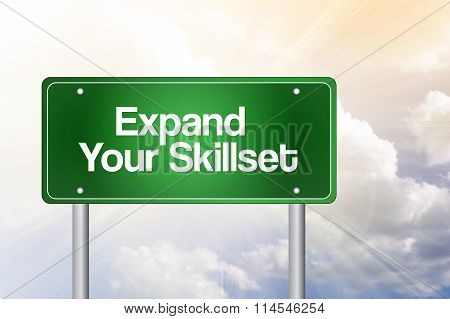 Expand Your Skillset Green Road Sign, Business Concept..