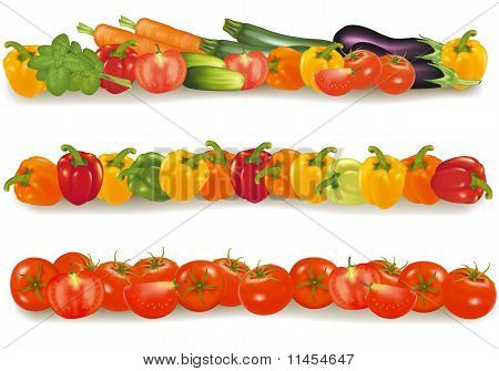 Three vegetable backgrounds