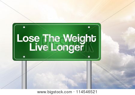 Lose The Weight Live Longer Green Road Sign Concept