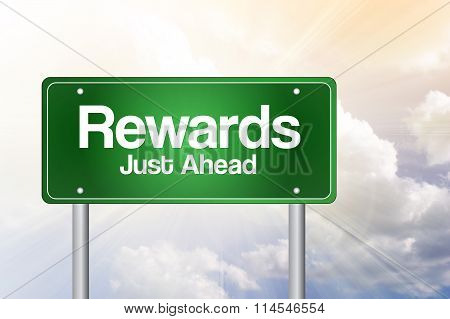 Rewards Green Road Sign, Business Concept..