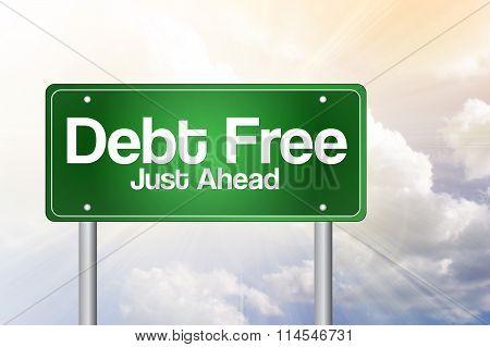 Debt Free Green Road Sign, presentation background
