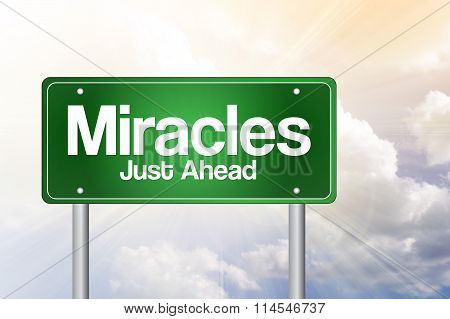 Miracles Green Road Sign concept, presentation background