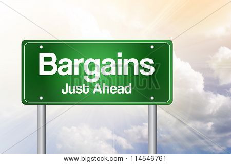 Bargains Just Ahead Green Road Sign, presentation background