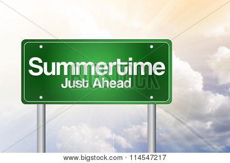 Summertime Green Road Sign Concept..summertime Green Road Sign Concept..