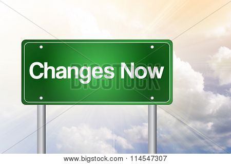 Changes Now Green Road Sign, Business Concept