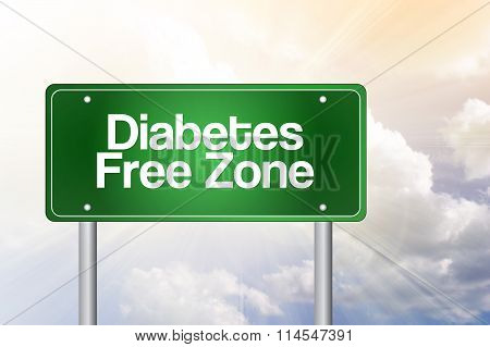 Diabetes Free Zone Green Road Sign Concept..