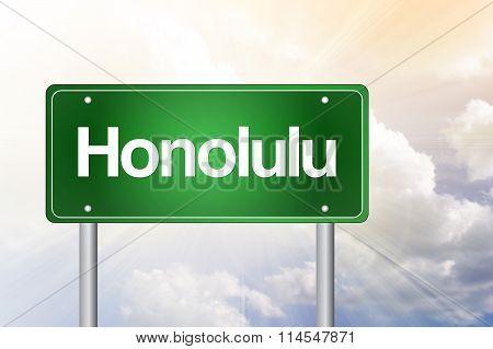 Honolulu Green Road Sign, Travel Concept