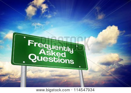 Frequently Asked Questions (faq) Green Road Sign, Business Concept