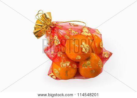 auspicious orange is in bag isolated .