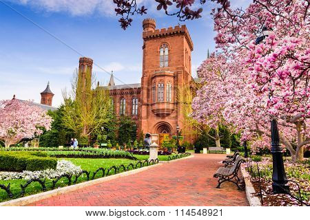 Washington DC - April 12, 2015: The Smithsonian Institution Building in the spring season.