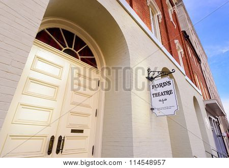 WASHINGTON DC - APRIL 12, 2015: Entrance to Ford's Theatre. The theater is infamous as the site of President Abraham Lincoln's assassination by John Wilkes Booth in 1865.