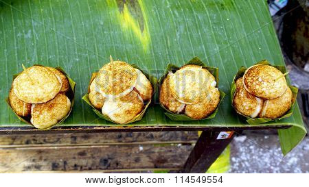 Coconut Rice Cake On Banana Packaging