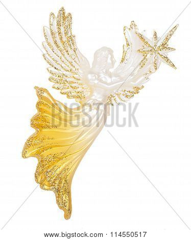 angel holding in hand a star Decoration isolated on white background